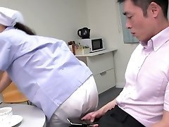 Ultra-cute Japanese maid demonstrates her big tits while sucking two dicks (FMM)