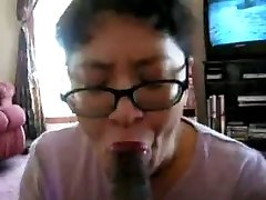 Asian Milf deep-throat black cock many times