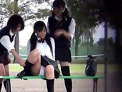 Asian teenies pee outside