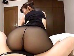 Japanese mature black pantyhose fucky-fucky