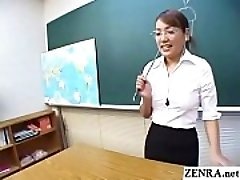 Classic JAV CFNM teacher hand-job blowjob demonstration