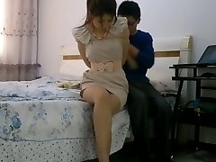 Chinese girl bondage tied up and ball-gagged with stockings