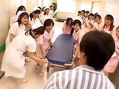 Asian nurses in a torrid gangbang