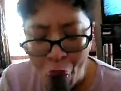 Asian Milf blow black cock many times