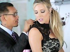 AMWF Samantha Saint bi-racial threesome with Asians