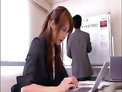 Crazy Japanese office worker gets screwed by the boss in the conference room