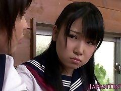 Tiny CFNM Japanese schoolgirl enjoy sharing pipe