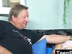Blonde Teenager With A Fat Old Guy