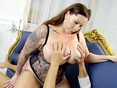 Awesome sexy Bbw Laura Orsolya feels good about railing strong cock