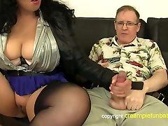 Anatasia Lux - thick thighs in skirt fucks old guy