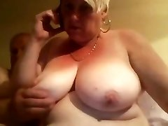 Fat old blonde amateur grannie spreads her plump pussy wide