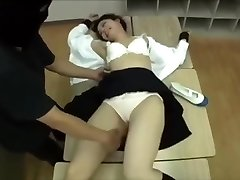 Asian girl tied and tickled in classroom