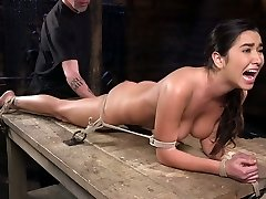 Bondage bitch Karlee Grey squirts in the dark BDSM bedroom
