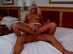 Blond chubby mature babe riding angry pole