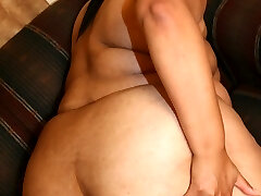 Huge Plumper model stretching her fat covered pussy and cramming it with a big dark-hued cock