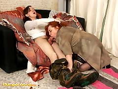Full redhead yummies down on young dude�s cock