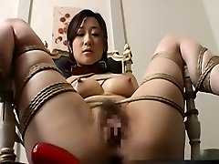 Warm Chinese babe gets disrobed and led like a dog on a leash