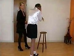Very severe lashing by classy lady to disobedient college girl