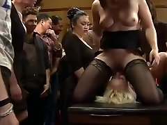 Tied huge-boobed blonde dp pulverized in public