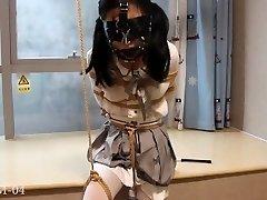 双马尾小M,单腿吊缚,打包滴蜡