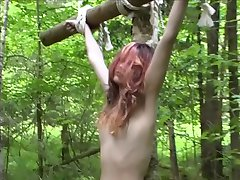 Lady and the slave in the forest
