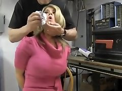 Big-chested blonde chair tied and cleave gagged