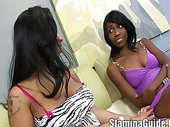 Two Hot Black Girls Fucked By Strap On