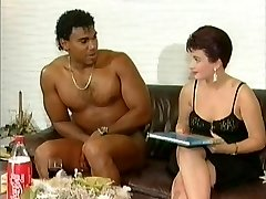 Milky female get suprised by a naked black cock