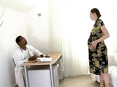 Heavily pregnant dark-haired fucked by a black dude