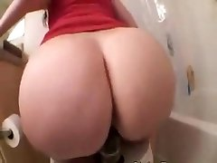 Pawg riding a giant black dildo on toilet