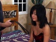 Torrid dark-hued hair babe gets a spanking in bedroom