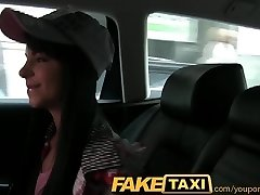 FakeTaxi Taxi driver woos black haired hottie to deep-throat his dick