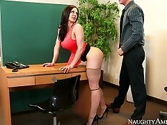 Nasty secretary with giant hooters Kendra Lust plowed on the table by Richie Black