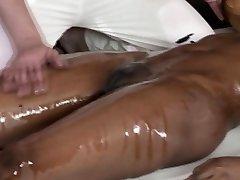 Classy ebony massage babe frigged