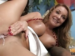 Janet Mason pussy oozing with cum after the ebony drill