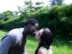 French Chick drills african in the car and bus stop