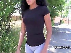 Ebony amateur showcasing bum in public