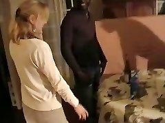 Blondie French wife gangbanged by three black men. Hubby films
