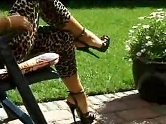 Ebony platform high heels