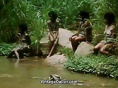 Sans Bra African Girl Doing a Tribal Dance (1970s Vintage)