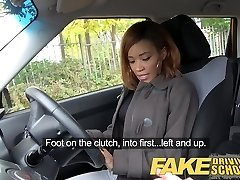Fake Driving School youthful ebony learner enjoys creampie for