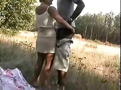Blonde Wifey humping a african on woods