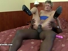 Grandma caught masturbating buttfuck fucked by black cock firm interracial