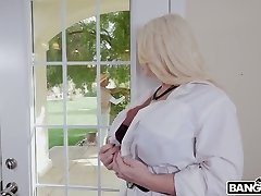 Cute looking black buddy gets tempted by big-titted MILF Alura TNT Jenson and sucked