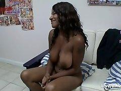 Sexy ebony female loves interracial fucking acts