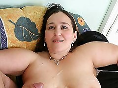 BBW is horny and the young guy delivers with a slamming for her tempting pussy