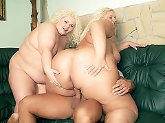 Massive blondes Melinda Timid and Faye take turns on a cock and get their hooters sprayed with jizm