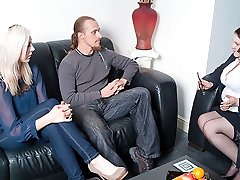 Big-titted BBW marriage counsellor ends up seducing client while wife is away