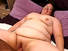 Sweet looking bbw Lorelie strips off her clothes and spreads her fat cunt to take cock pounding in her slit