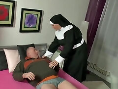 German Bear Chub being sated by a nun